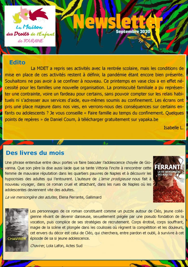 Newsletter de la MDET, septembre 2020