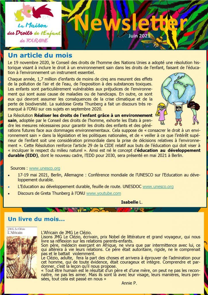 Newsletter de la MDET juin 2021